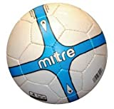 Mitre 463-85154 Traditional Sewn 32 Panel Construction Soccerball (Size 4 - White/Blue) (call 1-800-234-2775 to order)