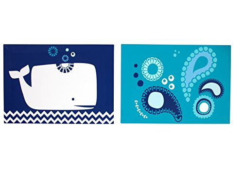Happy Chic Baby Jonathan Adler Party Whale Canvas Wall Decor, Blue/White