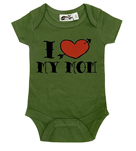 I <3 My Mom Tattoo Olive One Piece (6-12 Months) front-1039485
