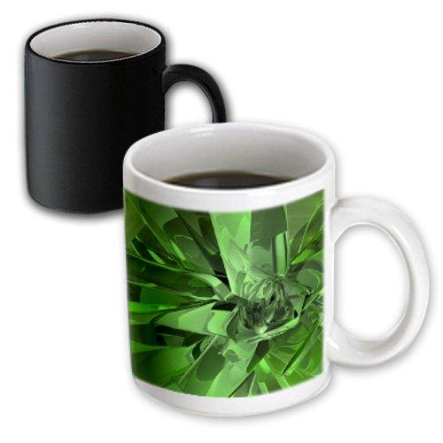 Mug_19258_3 Perkins Designs Abstract - Green Abstract Abstract Fractal Digital Work Of Reflecting Green Glass And Metal - Mugs - 11Oz Magic Transforming Mug