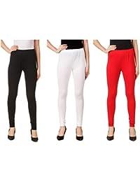 Svadhaa White Black Red Cotton Lycra Leggings(Pack Of 3)