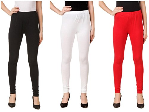 Svadhaa White Black Red Cotton Lycra Leggings(Pack Of 3)