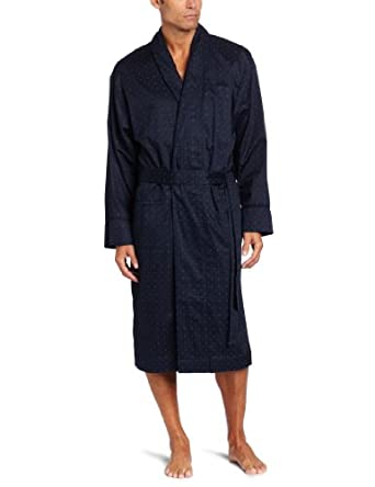 American Essentials Men's Premium Woven Terry-Lined Robe, Navy, Large/X-Large