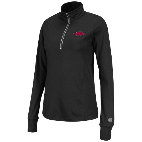 NCAA Arkansas Razorbacks Women's Pivot 1/2 Zip Jacket, Black, Large at Amazon.com