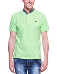 Zovi Men's Cotton Green Solid Pique Knit Polo T-shirt With Mandarin Collar (11060303101)