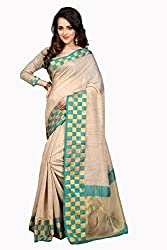 Fabcart Beige And Green Poly Cotton Saree with Blouse Piece