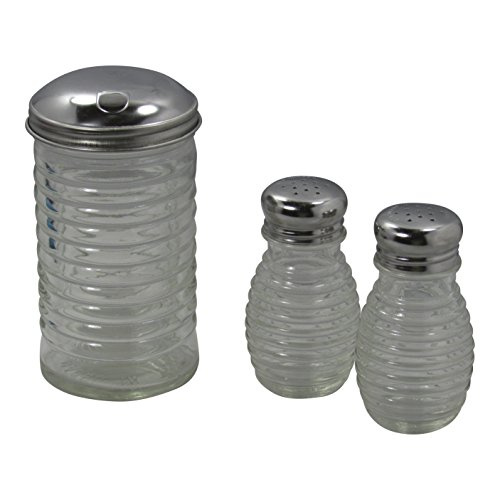 Beehive Glass Salt and Pepper Shakers and Sugar Pourer with Stainless Steel Tops