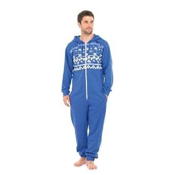 Mens octopus print hooded all in one onesie m l blue for Mens dress shirt onesie