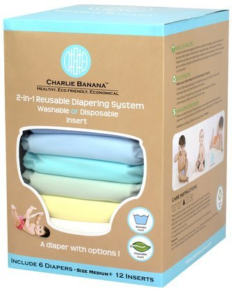 Charlie Banana Hybrid Cloth Diaper - Snap & Disposable Inserts - Unisex Pastel - Medium - 6 Pk front-945097