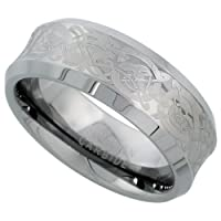 Tungsten 8 mm (5/16 in.) Comfort Fit Concaved Band, w/ Celtic Dragon Pattern (Available in Sizes 7 to 14)