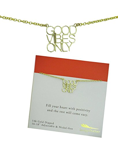 Lucky Feather Strong & Sassy Inspirational Card Necklace - Good Vibes (Positivity Necklace compare prices)