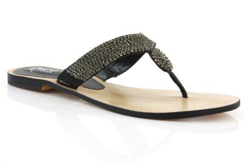 Cheap Unze Women Stylish Crystal Adorned Leather Thong Party, Evening, Wedding Slipper – Ab3167 (B003M2RLUK)