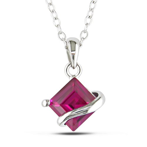Sterling Silver 1 1/2 CT TGW Square Created Ruby Fashion Pendant With Chain