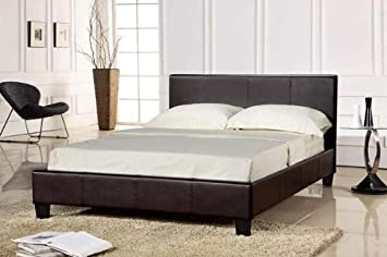 Para cama de matrimonio tapizado Prado en marrón - Color: Marrón