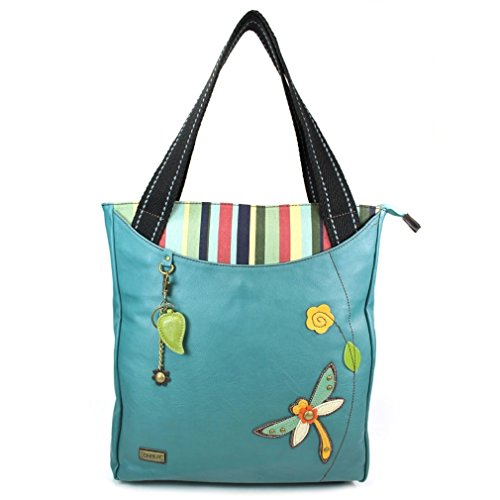 Chala Handbag STRIPED Tote DRAGONFLY Turquoise Blue Green Vegan Leather