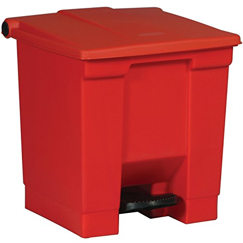 Rubbermaid Commercial FG614300RED Step-On Lid Wastebasket, 8-gallon, Red (Commercial Waste Basket Liners compare prices)