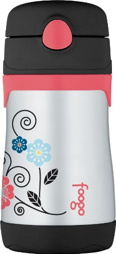For Sale! Thermos Foogo Phases Leak Proof Stainless Steel Straw Bottle, Poppy Patch, 10 Ounce