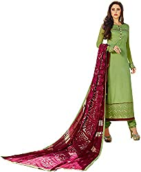 Shenoa Women's Tassar Silk Unstitched Dress Material(1112, Green)