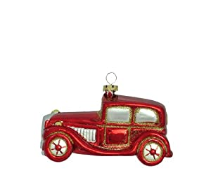 #!Cheap Barcana 4-Inch Shatterproof Red Luxury Car, Christmas Ornaments, Set of 3