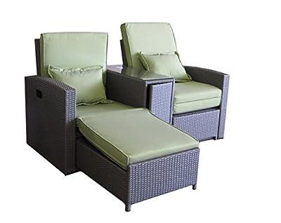Doppelsitzer Gartenliegen stufenlos verstellbare Rückenlehne PVC-Rattan grau von MACO Import bei Gartenmöbel von Du und Dein Garten