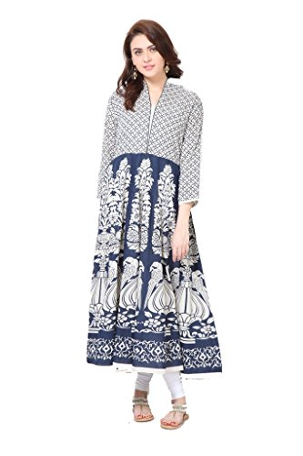 Navy-Blue-Persian-Anarkali-Printed-Kurti