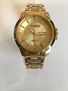 buy Topaz 5050Amd Gold Dail Men'S Gold Tone Luxury Watch With Day And Date.