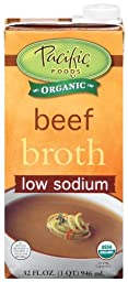 Pacific Natural Foods Organic Low Sodium Beef Broth, 32-Ounce Boxes (Pack of 12)