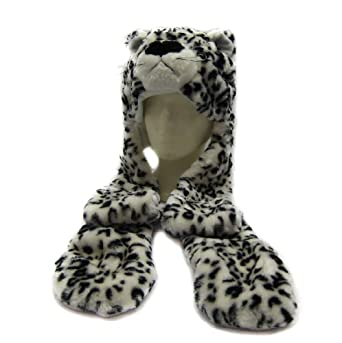 White Leopard Fluffy Plush Warm Hat Annimal Beanie with Long Paws