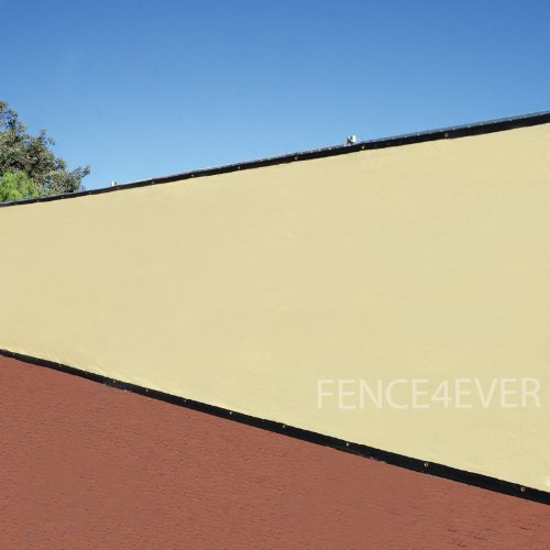 6'X50' 3Rd Gen Tan Fence Privacy Screen Windscreen Shade Cover Mesh Fabric (Aluminum Grommets) Home, Court, Or Construction front-453720