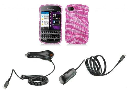 Blackberry Q10 - Premium Accessory Kit - Pink Zebra Stripes Diamond Bling Case + Atom Led Keychain Light + Wall Charger + Car Charger