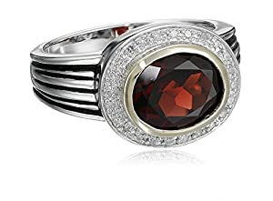 Sterling Silver and 14k Yellow Gold Oval Garnet with Diamond-Accent Ring (0.12 cttw, I-J Color, I3 Clarity), Size 6