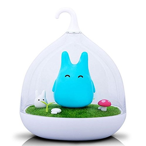 blue-elep/Rechargeable Totoro USB LED Baby Night Light Portable Touch Sensor Bedside Lamp Wall Lampara as Creative Gifts for Children (blue color)