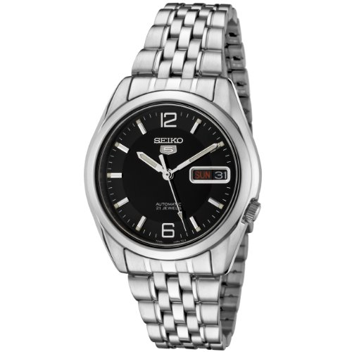 Seiko Men's 5 Automatic SNK393K Silver Stainless-Steel Automatic Watch with Black Dial