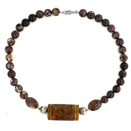 Agate Carved Jasper Beads with Silver Finding 16.5 inches Necklace