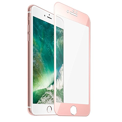 iPhone 7 Plus Screen Protector, F-color iPhone 7 Tempered Glass Screen Protector with Rose Gold Alloy Metal Frame, Full iPhone 7 Plus Screen Cover HD Clear 3D Round Edge, Life Time Warranty, Rose Gold
