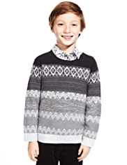 Autograph Cotton Rich Fair Isle Jumper with Cashmere