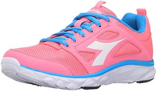 Diadora Women's Hawk 6 W running Shoe, Pink Fluorescent/White, 6.5 M US