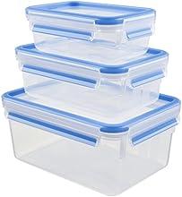 Comprar Emsa 508566 - Juego de 3 recipientes herméticos rectangulares con tapa, 0,55, 1 y 2.3 L, transparente