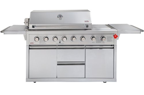 Swiss Grill Z650D Zurich Series Stainless Steel Grill With 6-Piece Burner Unit/Infrared Rear Burner/Infrared Side Burner/Rotisserie Kit/Stainless Steel Cart