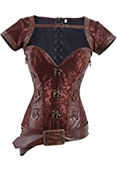 Charmian Women's Retro Goth Brocade Steampunk Overbust Corset with Jacket and Belt