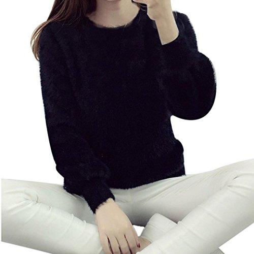 Koly_Di modo delle donne vestiti a maniche lunghe-maglia allentato Maglione (Nero)