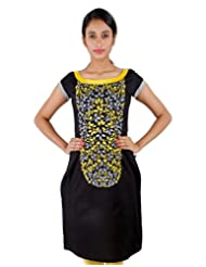 Leaf Printed Black Cotton Kurta From ESTYLe