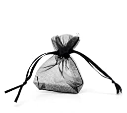 PEPPERLONELY Brand 100PC Black Organza Drawstring Pouches Jewelry Gift Bag 7cmx5cm(2-6/8 x 2)