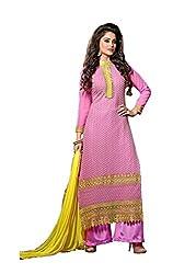 Prenea Women's Pink unstitched embroidery work unstitched Salwar Suit