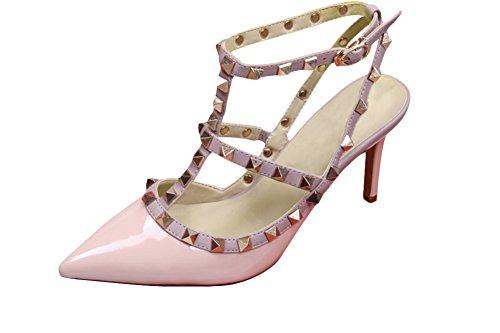 wanmi pupms da donna Gold-Tone ROCKSTUD Sandali Brevetto In pelle cinturino alla caviglia Slingback Scarpe con tacco alto, donna, Pink, 37