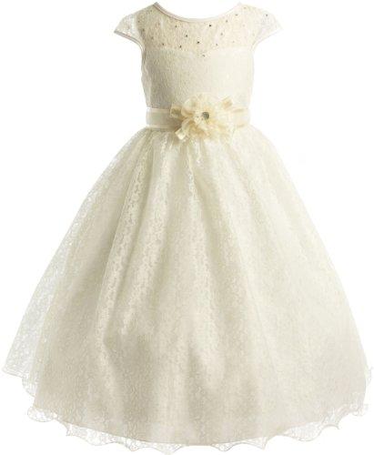 Lace Peek-A-Boo Bodice Communion Flower Girl Pageant Long Dress - Ivory 12