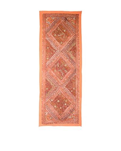 Uptown Down One-of-a-Kind Floor Runner of Vintage Tribal Collars, Orange/Gold