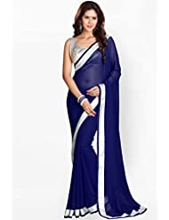 Navy Blue Faux Georgette Saree With Matching Blouse