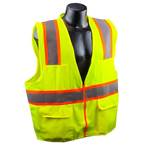 Full Source US2LN16 Class 2 Solid Surveyor Safety Vest - Yellow/Lime - 4XL