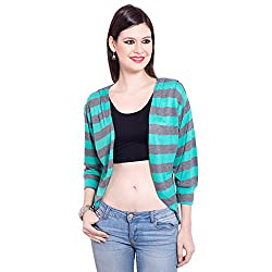 TUNTUK Womens Kirti Shurg Green Viscose Shrug